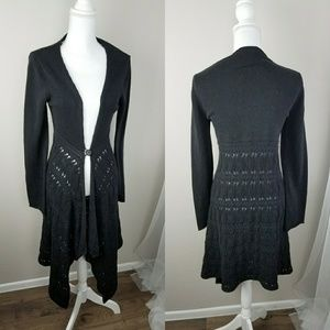 Long Duster Cardigan One Button Sweater Boho Med M